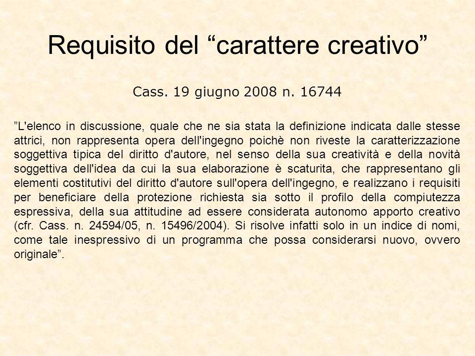 Cass. 19 giugno 2008 n. 16744 L'elenco in discussione, quale che ne sia stata la definizione indicata dalle stesse attrici, non rappresenta opera dell