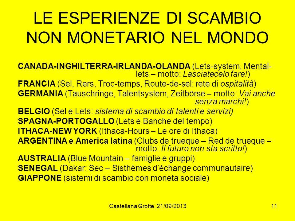 Castellana Grotte, 21/09/201311 LE ESPERIENZE DI SCAMBIO NON MONETARIO NEL MONDO CANADA-INGHILTERRA-IRLANDA-OLANDA (Lets-system, Mental- lets – motto: