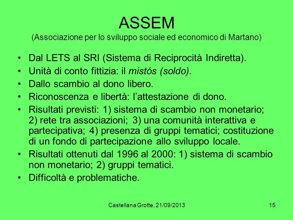 Castellana Grotte, 21/09/201315 ASSEM (Associazione per lo sviluppo sociale ed economico di Martano) Dal LETS al SRI (Sistema di Reciprocità Indiretta