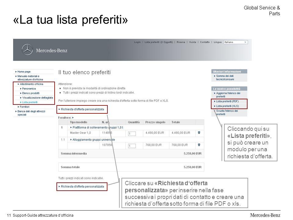 Global Service & Parts Support-Guide attrezzature dofficina11 «La tua lista preferiti» Cliccando qui su «Lista preferiti», si può creare un modulo per una richiesta dofferta.