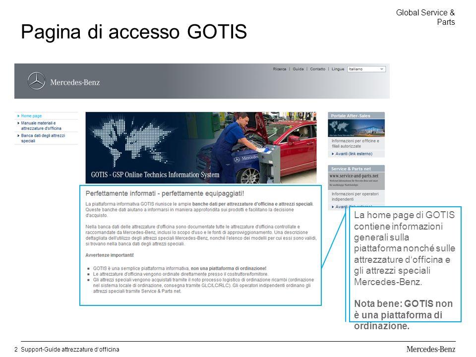 Global Service & Parts Support-Guide attrezzature dofficina2 Pagina di accesso GOTIS La home page di GOTIS contiene informazioni generali sulla piattaforma nonché sulle attrezzature dofficina e gli attrezzi speciali Mercedes-Benz.