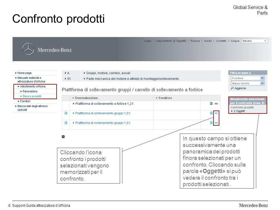 Global Service & Parts Support-Guide attrezzature dofficina6 Confronto prodotti Cliccando licona confronto i prodotti selezionati vengono memorizzati per il confronto.