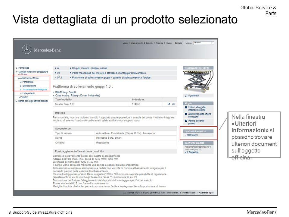 Global Service & Parts Support-Guide attrezzature dofficina8 Vista dettagliata di un prodotto selezionato Nella finestra «Ulteriori informazioni» si possono trovare ulteriori documenti sulloggetto officina.