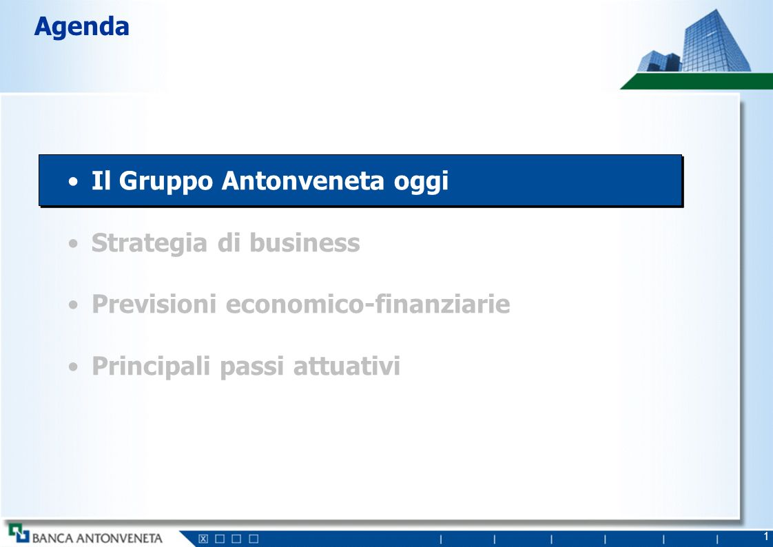 2 Storia di crescita senza precedenti Nasce BAPV: fusione Antoniana e Popolare Veneta Entrata in nuovi business: Investment Banking (Interbanca), Asset Management (ABN-Amro), Bancassurance (Lloyd) Consolidamento domestico: incorporazione Banche minori Consolidamento domestico: acquisizione BNA Rafforzamento Private Banking (ABN – Amro) Quotazione e abbandono status di popolare OPA su Interbanca 199619971998199920012002 Sportelli 390 429 571 934 1.019 1.055 Dipendenti medi 3.9224.6265.62611.19111.01810.907 Massa Intermediata Mld 23,436,945,278,893,899,6 2003 1.056 11.037 100,0