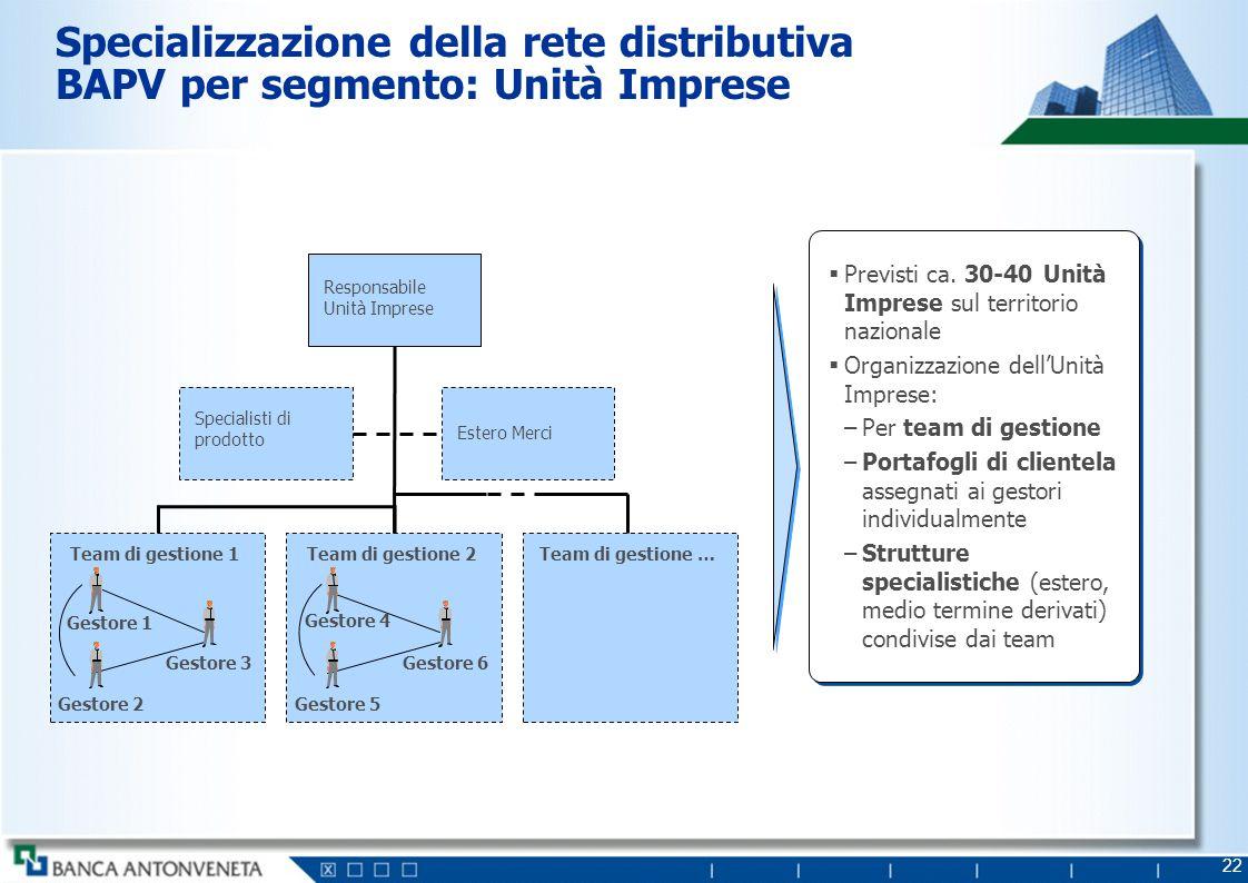 22 Specializzazione della rete distributiva BAPV per segmento: Unità Imprese Previsti ca. 30-40 Unità Imprese sul territorio nazionale Organizzazione