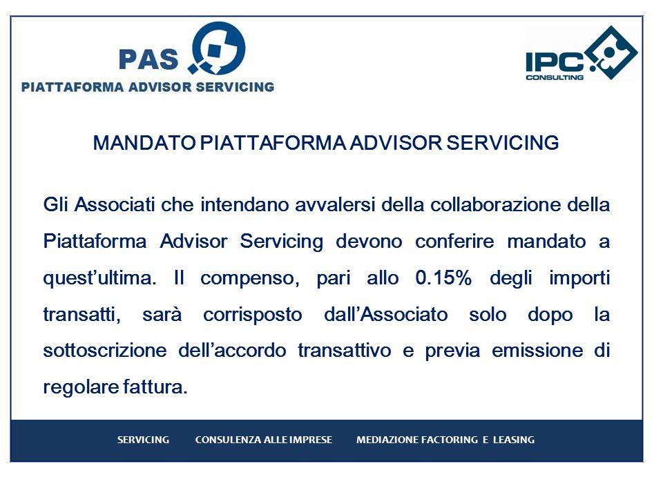 MANDATO PIATTAFORMA ADVISOR SERVICING Gli Associati che intendano avvalersi della collaborazione della Piattaforma Advisor Servicing devono conferire mandato a questultima.