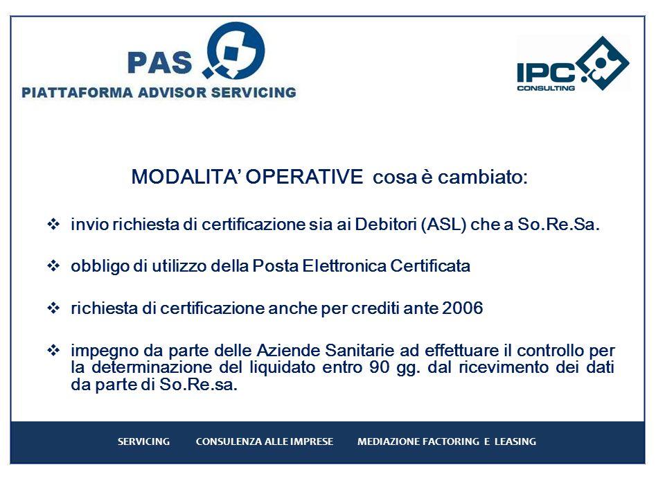 MODALITA OPERATIVE cosa è cambiato: invio richiesta di certificazione sia ai Debitori (ASL) che a So.Re.Sa.