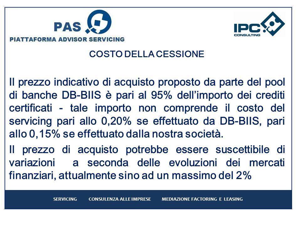 COSTO DELLA CESSIONE Il prezzo indicativo di acquisto proposto da parte del pool di banche DB-BIIS è pari al 95% dellimporto dei crediti certificati - tale importo non comprende il costo del servicing pari allo 0,20% se effettuato da DB-BIIS, pari allo 0,15% se effettuato dalla nostra società.