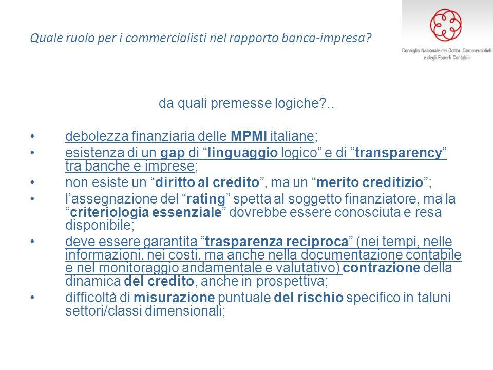 Quale ruolo per i commercialisti nel rapporto banca-impresa? da quali premesse logiche?.. debolezza finanziaria delle MPMI italiane; esistenza di un g