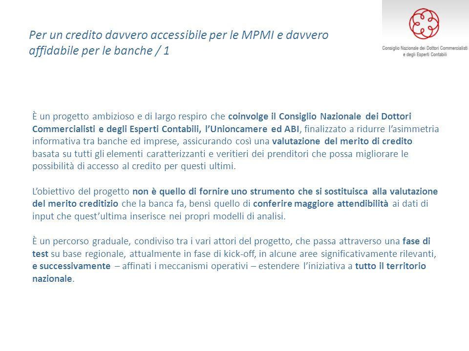 Per un credito davvero accessibile per le MPMI e davvero affidabile per le banche / 1 È un progetto ambizioso e di largo respiro che coinvolge il Cons