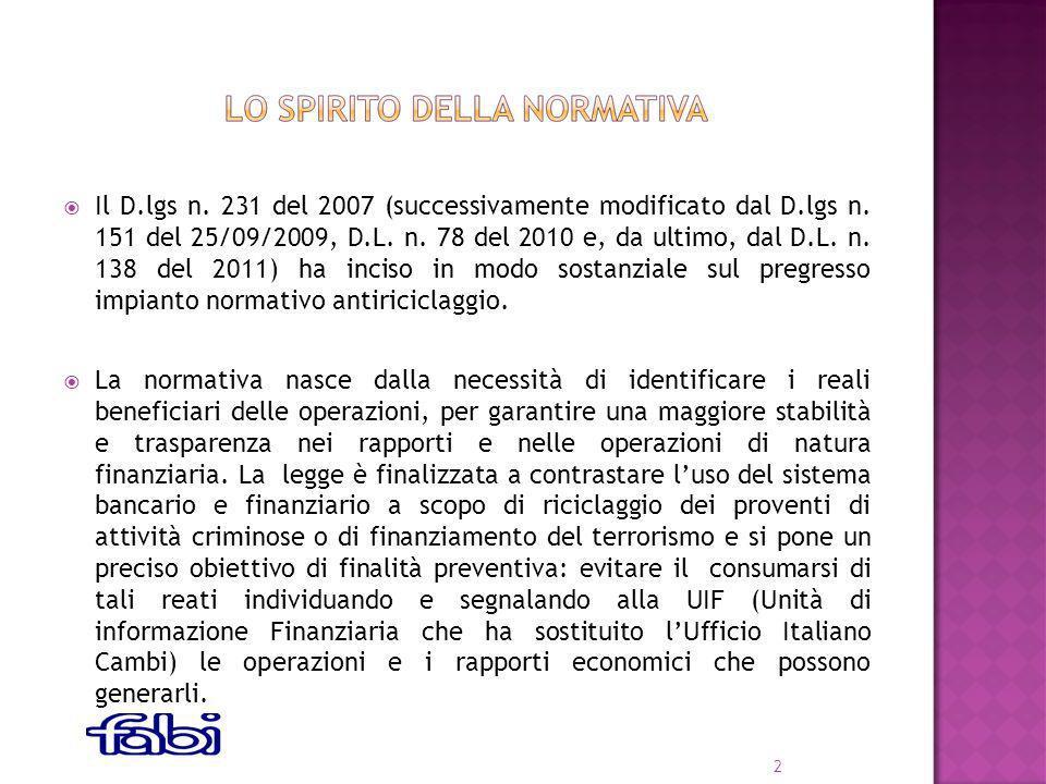 Il D.lgs n. 231 del 2007 (successivamente modificato dal D.lgs n.