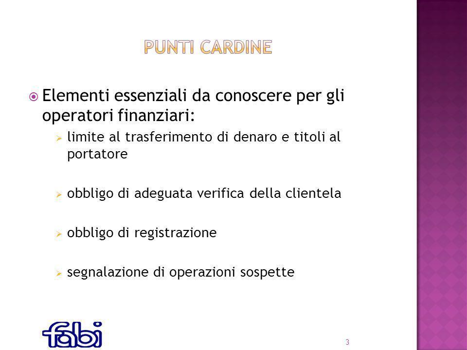 Elementi essenziali da conoscere per gli operatori finanziari: limite al trasferimento di denaro e titoli al portatore obbligo di adeguata verifica della clientela obbligo di registrazione segnalazione di operazioni sospette 3