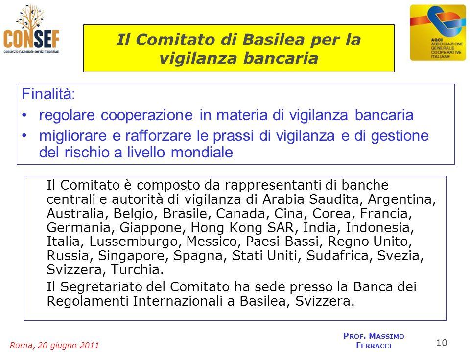 Roma, 20 giugno 2011 P ROF. M ASSIMO F ERRACCI Il Comitato di Basilea per la vigilanza bancaria Il Comitato è composto da rappresentanti di banche cen