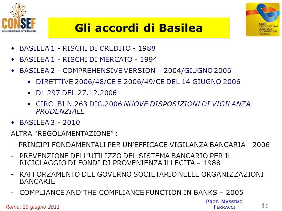 Roma, 20 giugno 2011 P ROF. M ASSIMO F ERRACCI Gli accordi di Basilea BASILEA 1 - RISCHI DI CREDITO - 1988 BASILEA 1 - RISCHI DI MERCATO - 1994 BASILE