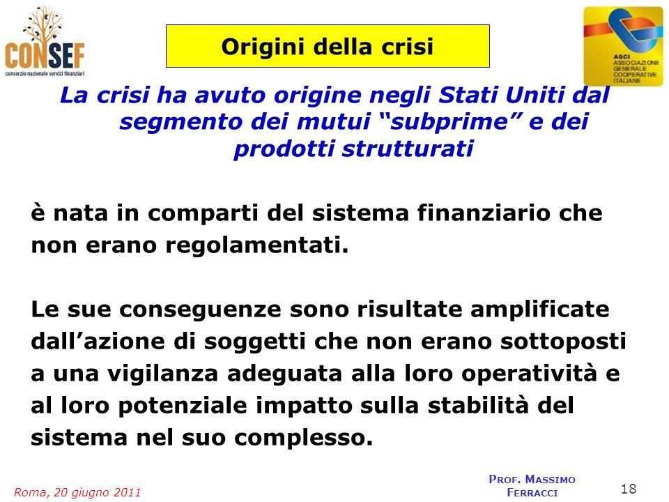 Roma, 20 giugno 2011 P ROF. M ASSIMO F ERRACCI Origini della crisi La crisi ha avuto origine negli Stati Uniti dal segmento dei mutui subprime e dei p