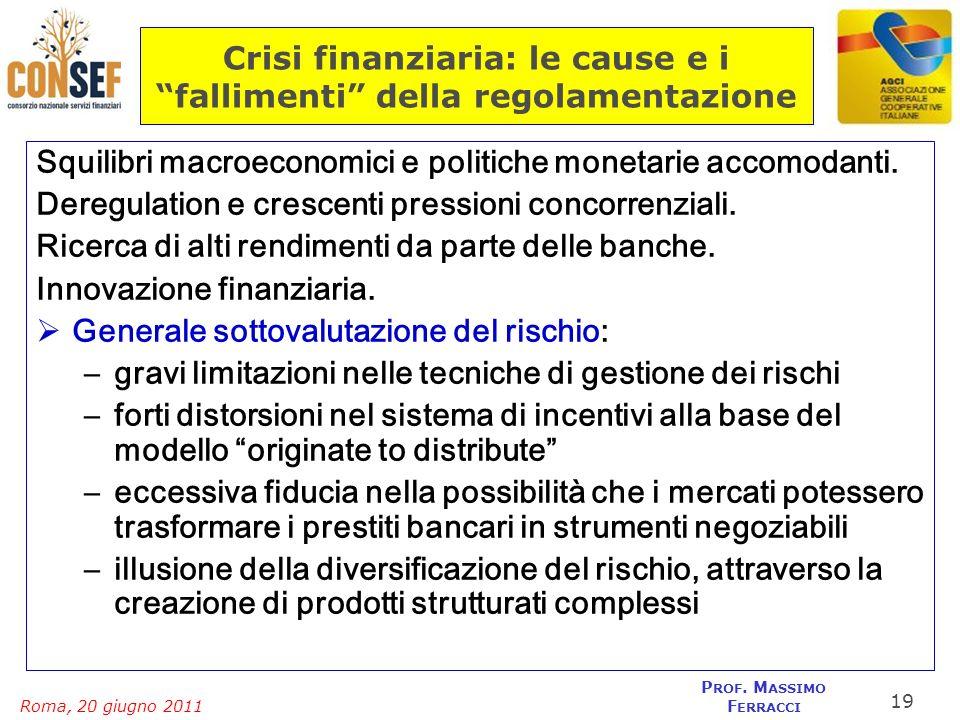 Roma, 20 giugno 2011 P ROF. M ASSIMO F ERRACCI Crisi finanziaria: le cause e i fallimenti della regolamentazione Squilibri macroeconomici e politiche