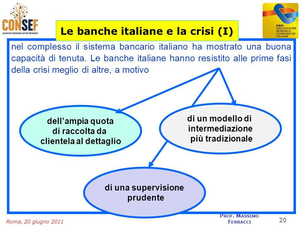 Roma, 20 giugno 2011 P ROF. M ASSIMO F ERRACCI nel complesso il sistema bancario italiano ha mostrato una buona capacità di tenuta. Le banche italiane