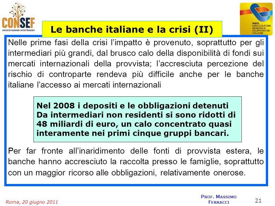 Roma, 20 giugno 2011 P ROF. M ASSIMO F ERRACCI Nelle prime fasi della crisi limpatto è provenuto, soprattutto per gli intermediari più grandi, dal bru