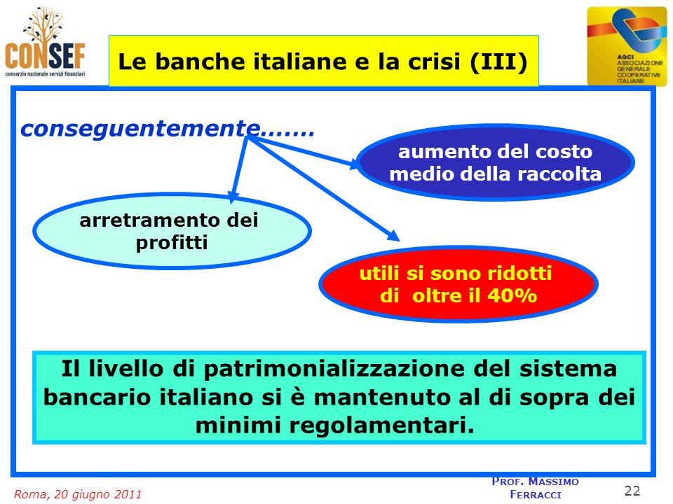 Roma, 20 giugno 2011 P ROF. M ASSIMO F ERRACCI conseguentemente….… Le banche italiane e la crisi (III) aumento del costo medio della raccolta arretram