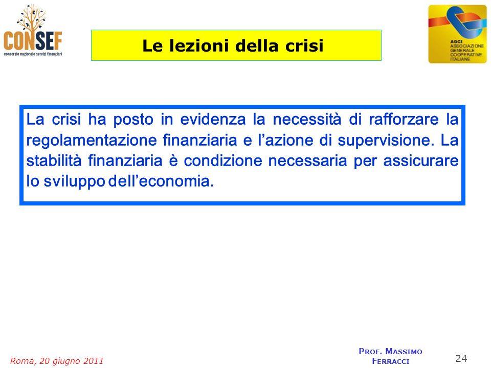 Roma, 20 giugno 2011 P ROF. M ASSIMO F ERRACCI La crisi ha posto in evidenza la necessità di rafforzare la regolamentazione finanziaria e lazione di s