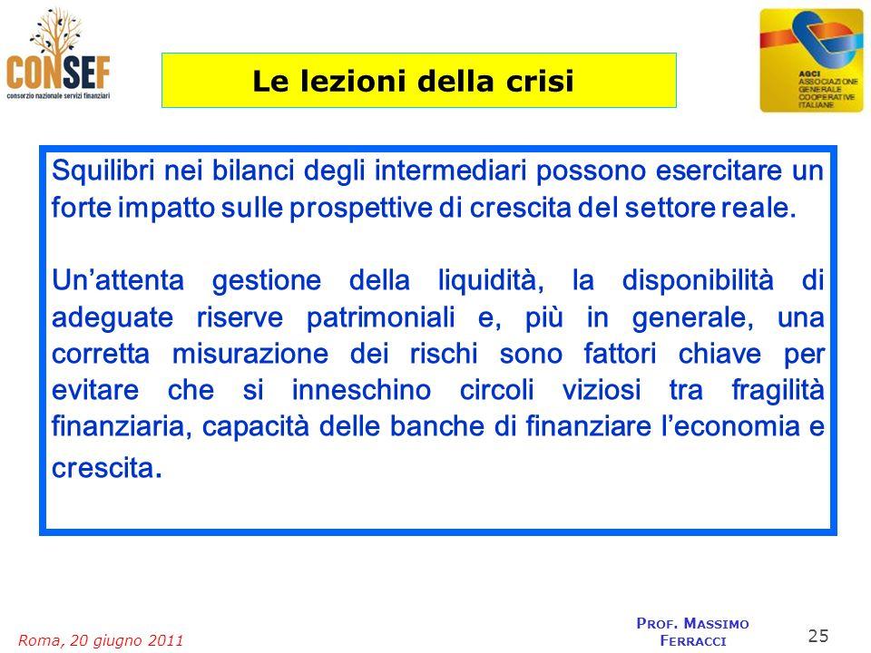Roma, 20 giugno 2011 P ROF. M ASSIMO F ERRACCI Squilibri nei bilanci degli intermediari possono esercitare un forte impatto sulle prospettive di cresc