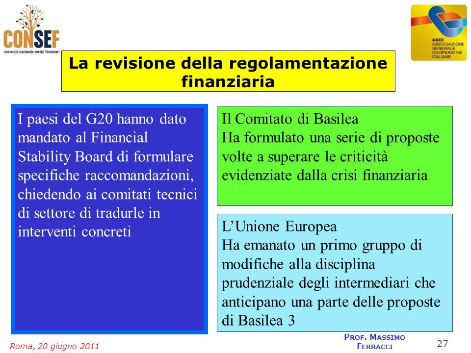 Roma, 20 giugno 2011 P ROF. M ASSIMO F ERRACCI La revisione della regolamentazione finanziaria I paesi del G20 hanno dato mandato al Financial Stabili