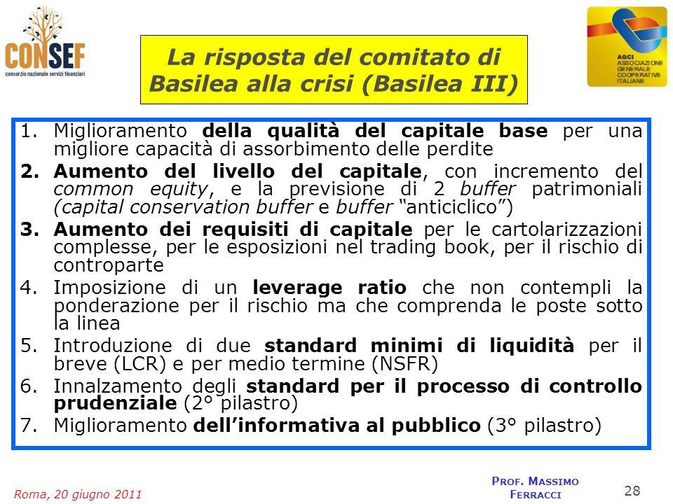 Roma, 20 giugno 2011 P ROF. M ASSIMO F ERRACCI 1.Miglioramento della qualità del capitale base per una migliore capacità di assorbimento delle perdite