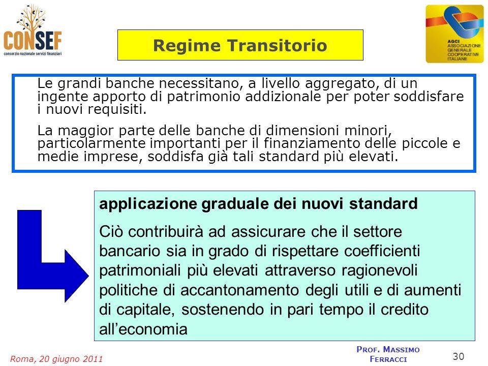 Roma, 20 giugno 2011 P ROF. M ASSIMO F ERRACCI Le grandi banche necessitano, a livello aggregato, di un ingente apporto di patrimonio addizionale per