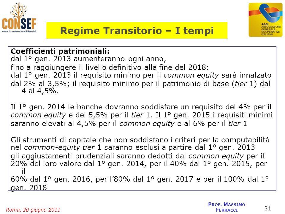 Roma, 20 giugno 2011 P ROF. M ASSIMO F ERRACCI Regime Transitorio – I tempi Coefficienti patrimoniali: dal 1° gen. 2013 aumenteranno ogni anno, fino a