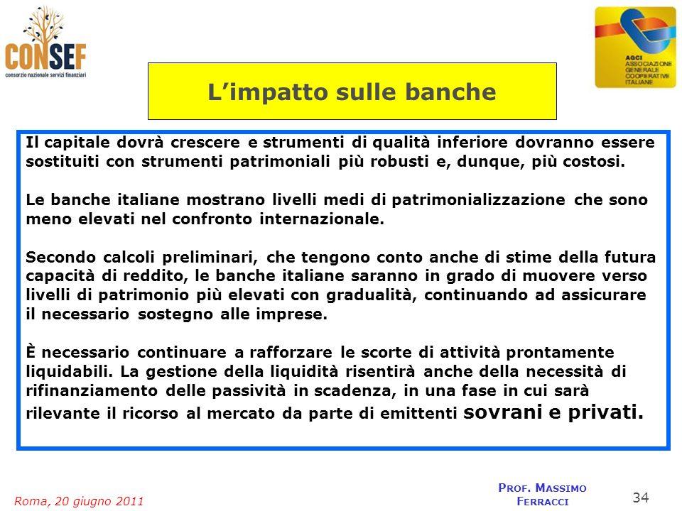 Roma, 20 giugno 2011 P ROF. M ASSIMO F ERRACCI Il capitale dovrà crescere e strumenti di qualità inferiore dovranno essere sostituiti con strumenti pa