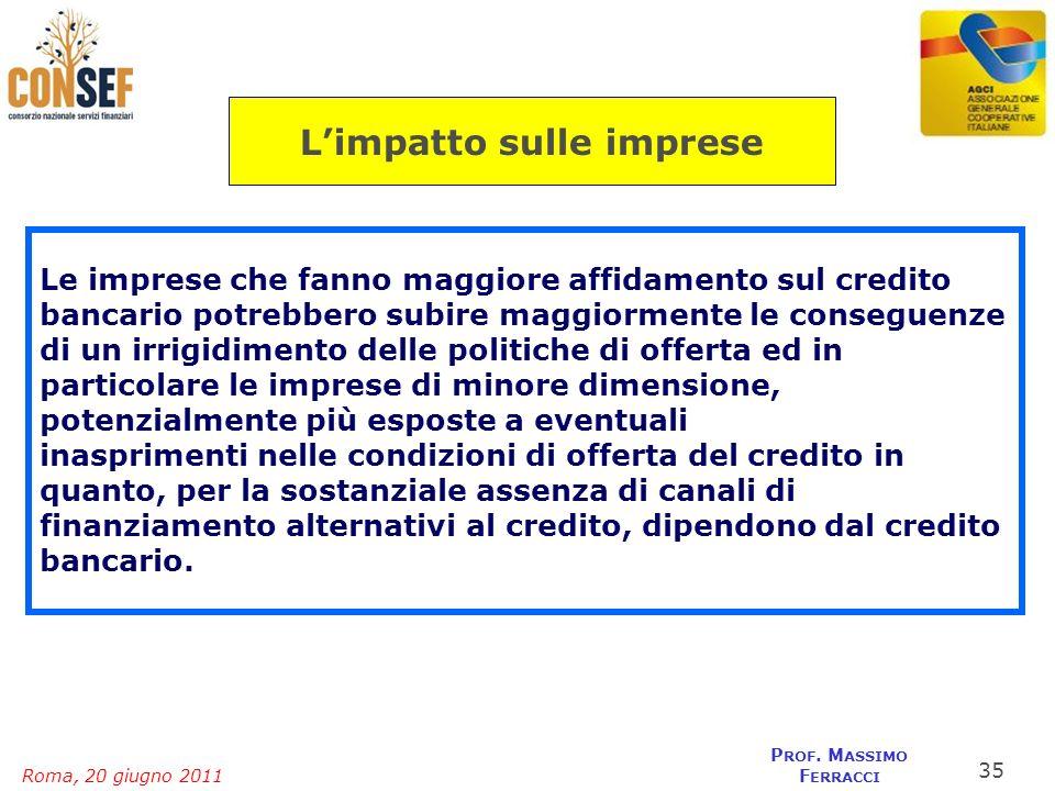 Roma, 20 giugno 2011 P ROF. M ASSIMO F ERRACCI Le imprese che fanno maggiore affidamento sul credito bancario potrebbero subire maggiormente le conseg