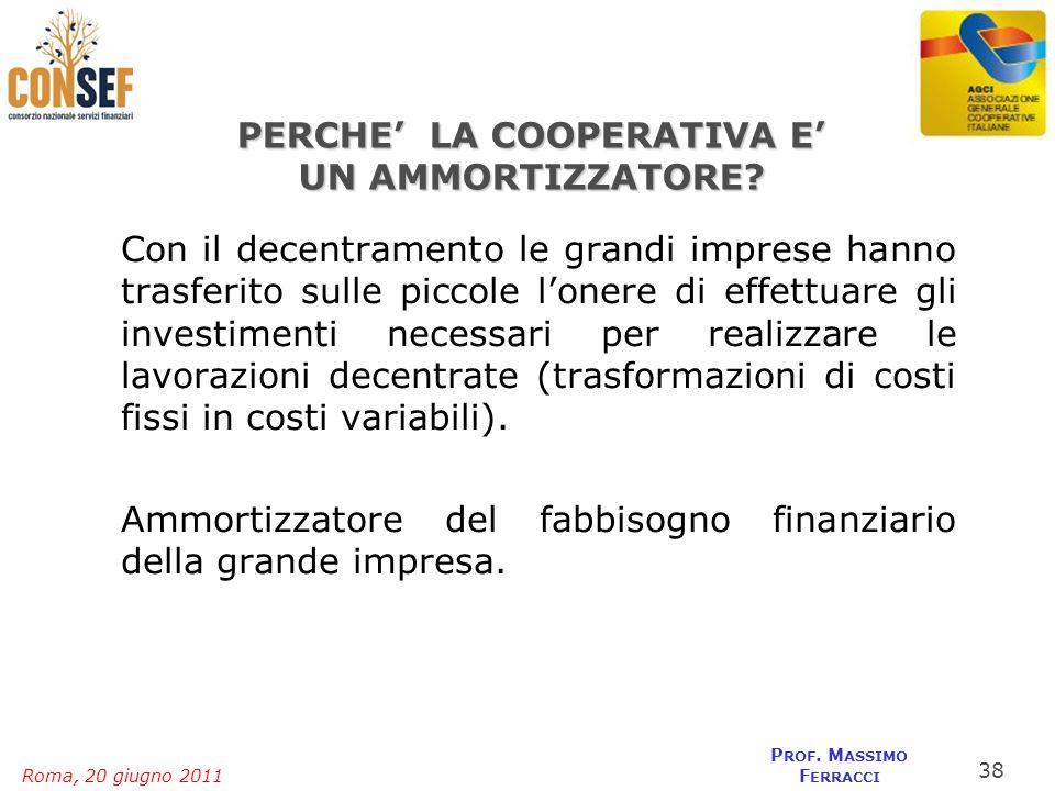 Roma, 20 giugno 2011 P ROF. M ASSIMO F ERRACCI PERCHE LA COOPERATIVA E UN AMMORTIZZATORE? Con il decentramento le grandi imprese hanno trasferito sull