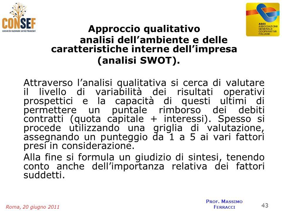 Roma, 20 giugno 2011 P ROF. M ASSIMO F ERRACCI Approccio qualitativo analisi dellambiente e delle caratteristiche interne dellimpresa (analisi SWOT).