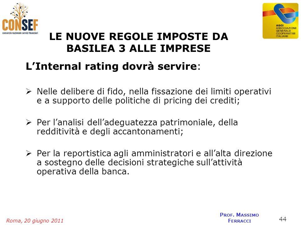 Roma, 20 giugno 2011 P ROF. M ASSIMO F ERRACCI LE NUOVE REGOLE IMPOSTE DA BASILEA 3 ALLE IMPRESE LInternal rating dovrà servire: Nelle delibere di fid