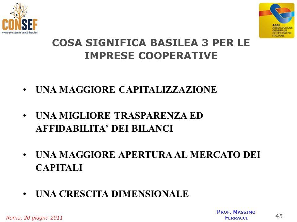 Roma, 20 giugno 2011 P ROF. M ASSIMO F ERRACCI COSA SIGNIFICA BASILEA 3 PER LE IMPRESE COOPERATIVE UNA MAGGIORE CAPITALIZZAZIONEUNA MAGGIORE CAPITALIZ