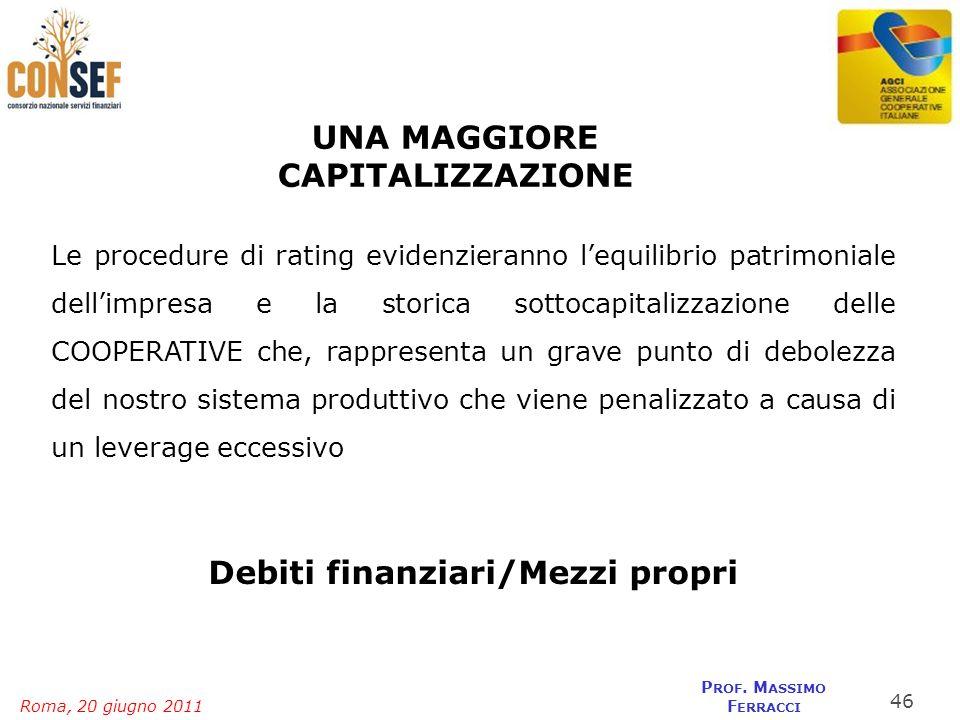 Roma, 20 giugno 2011 P ROF. M ASSIMO F ERRACCI UNA MAGGIORE CAPITALIZZAZIONE Le procedure di rating evidenzieranno lequilibrio patrimoniale dellimpres
