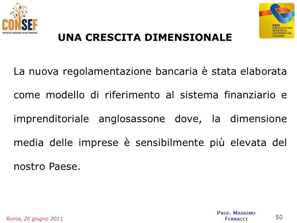 Roma, 20 giugno 2011 P ROF. M ASSIMO F ERRACCI UNA CRESCITA DIMENSIONALE La nuova regolamentazione bancaria è stata elaborata come modello di riferime