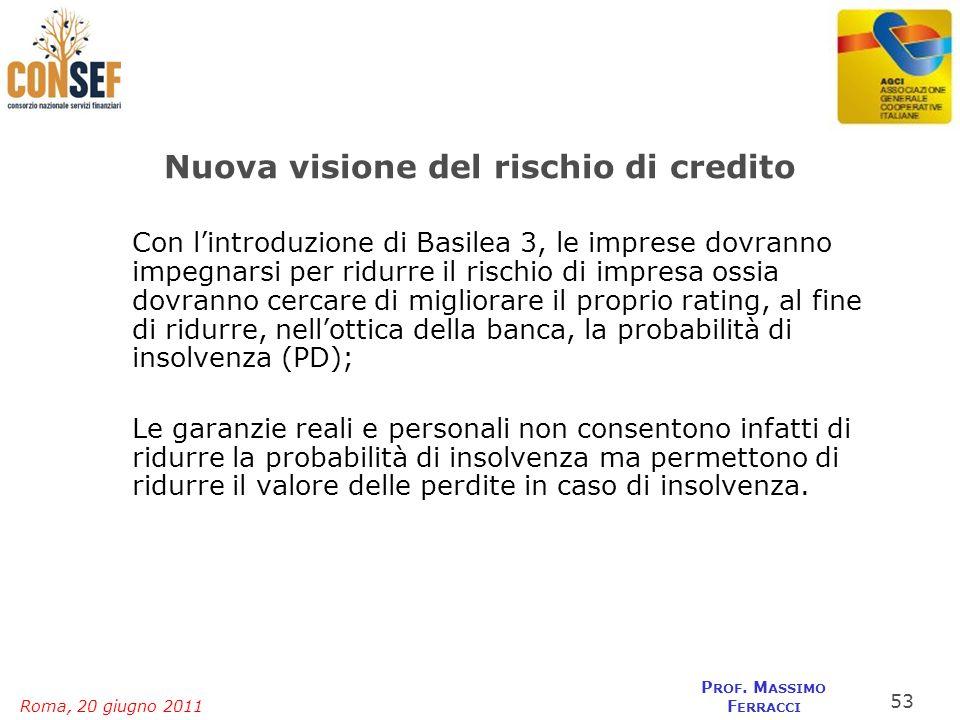 Roma, 20 giugno 2011 P ROF. M ASSIMO F ERRACCI Nuova visione del rischio di credito Con lintroduzione di Basilea 3, le imprese dovranno impegnarsi per