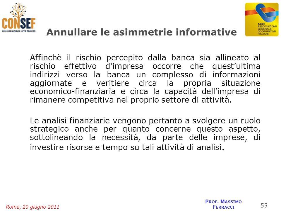 Roma, 20 giugno 2011 P ROF. M ASSIMO F ERRACCI Annullare le asimmetrie informative Affinchè il rischio percepito dalla banca sia allineato al rischio