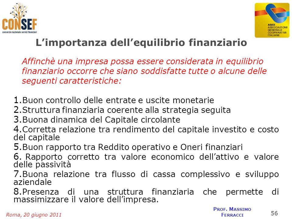 Roma, 20 giugno 2011 P ROF. M ASSIMO F ERRACCI Limportanza dellequilibrio finanziario Affinchè una impresa possa essere considerata in equilibrio fina