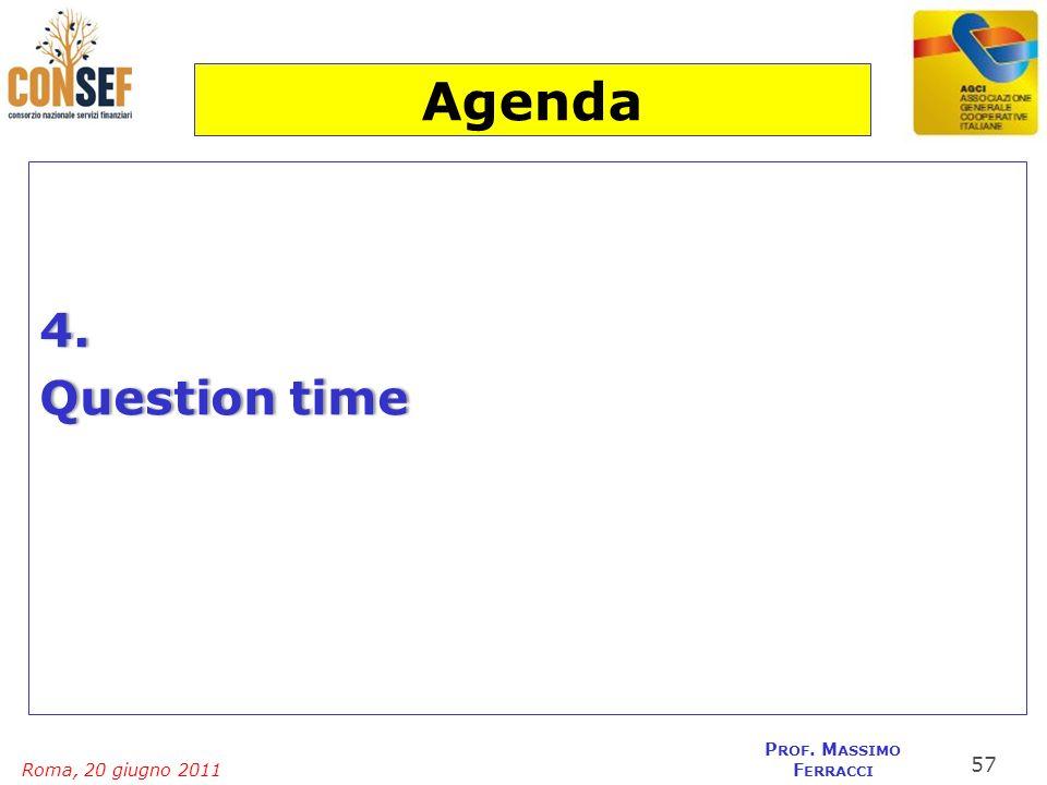 Roma, 20 giugno 2011 P ROF. M ASSIMO F ERRACCI 4. Question timeQuestion time 57 Agenda