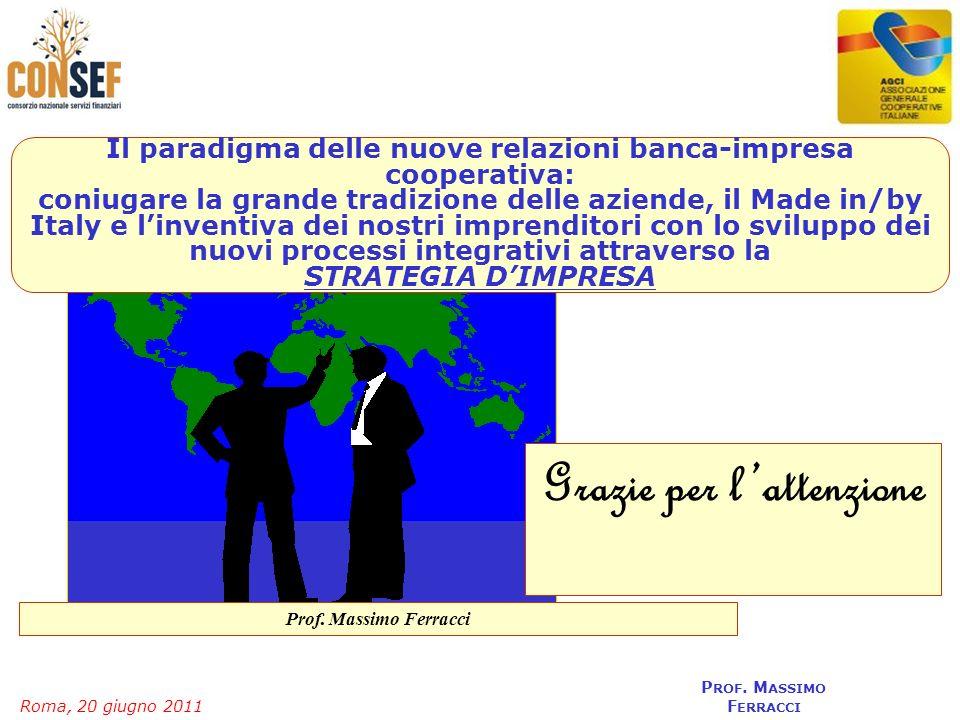 Roma, 20 giugno 2011 P ROF. M ASSIMO F ERRACCI Insiem e nelmondo Grazie per lattenzione Il paradigma delle nuove relazioni banca-impresa cooperativa:
