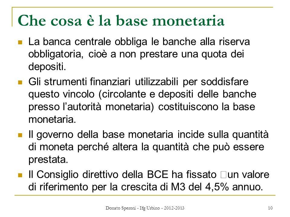 10 Che cosa è la base monetaria La banca centrale obbliga le banche alla riserva obbligatoria, cioè a non prestare una quota dei depositi. Gli strumen