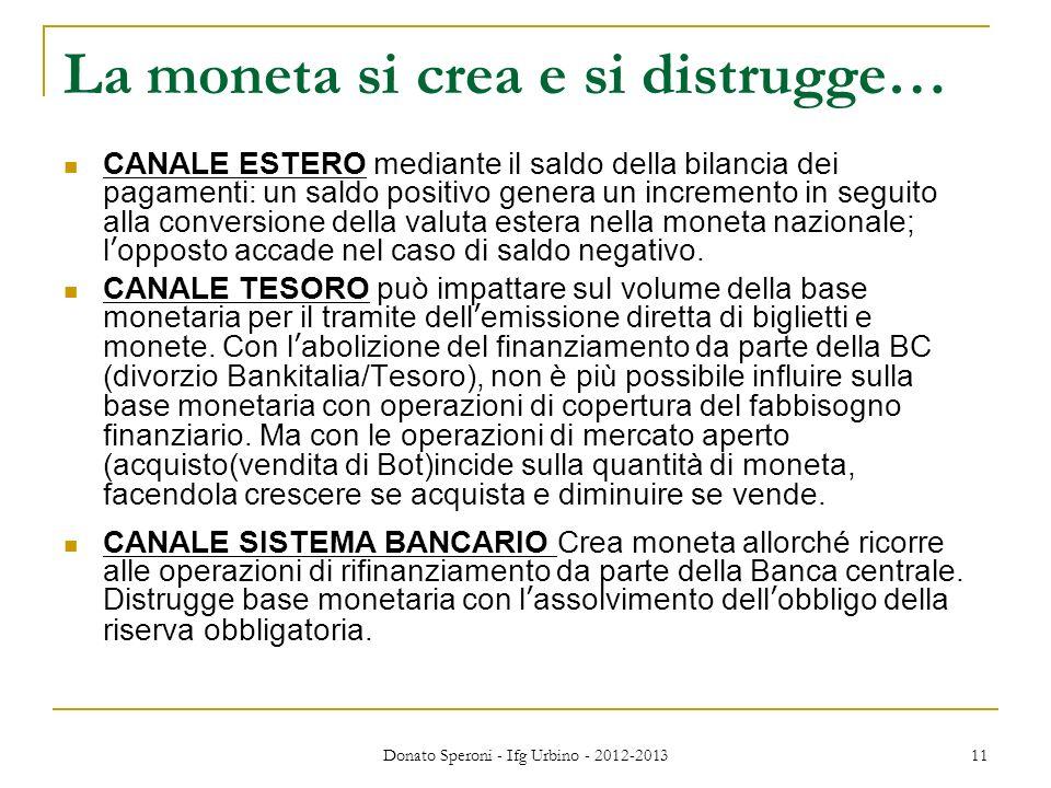 La moneta si crea e si distrugge… CANALE ESTERO mediante il saldo della bilancia dei pagamenti: un saldo positivo genera un incremento in seguito alla
