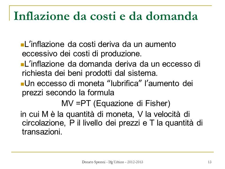 Donato Speroni - Ifg Urbino - 2012-2013 13 Inflazione da costi e da domanda Linflazione da costi deriva da un aumento eccessivo dei costi di produzion