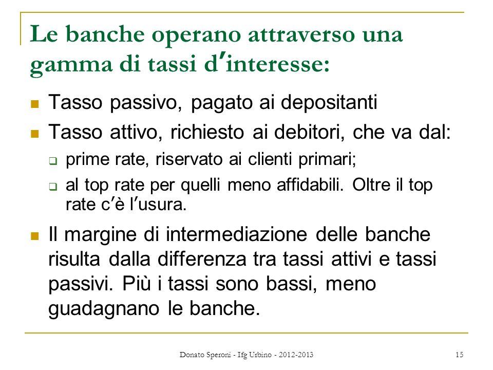 Donato Speroni - Ifg Urbino - 2012-2013 15 Le banche operano attraverso una gamma di tassi dinteresse: Tasso passivo, pagato ai depositanti Tasso atti