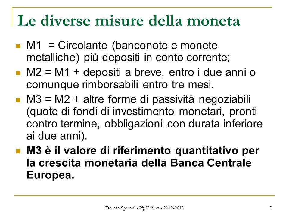 Le diverse misure della moneta M1 = Circolante (banconote e monete metalliche) più depositi in conto corrente; M2 = M1 + depositi a breve, entro i due