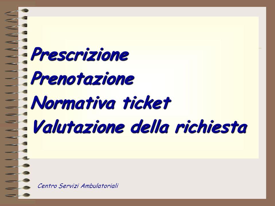 PrescrizionePrenotazione Normativa ticket Valutazione della richiesta Centro Servizi Ambulatoriali