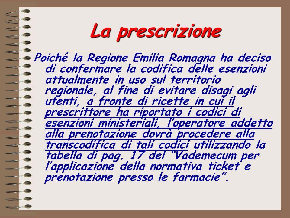 La prescrizione Poiché la Regione Emilia Romagna ha deciso di confermare la codifica delle esenzioni attualmente in uso sul territorio regionale, al f