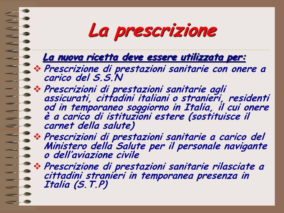 La prescrizione La nuova ricetta deve essere utilizzata per: Prescrizione di prestazioni sanitarie con onere a carico del S.S.N Prescrizioni di presta